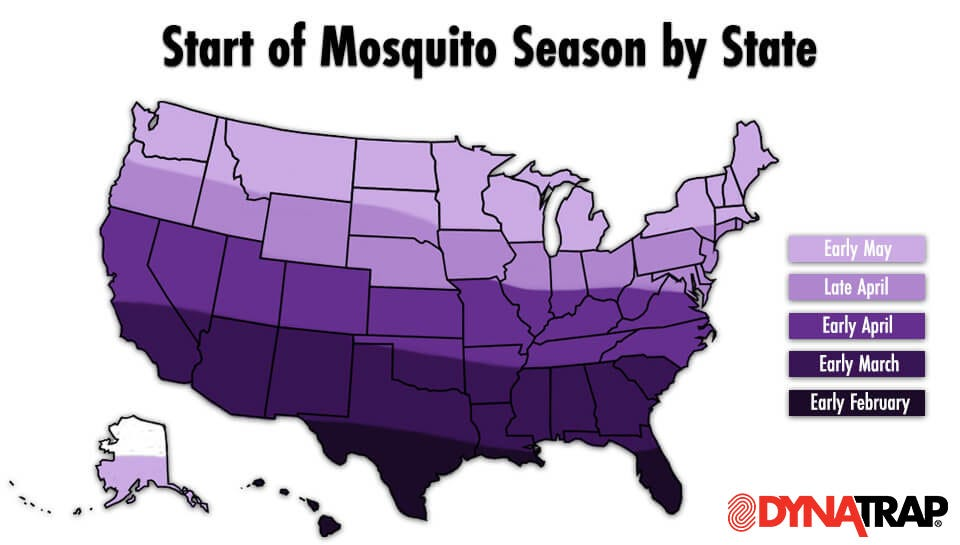 Map of Mosquito Season by State